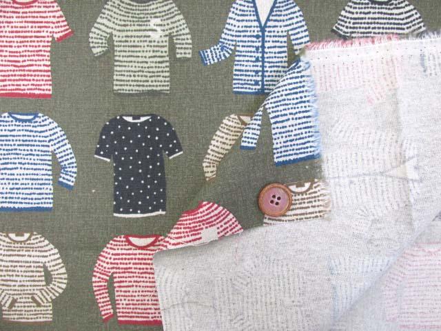 画像3: 綿麻キャンバス セーター・ニット・カーディガン・洋服柄 (カーキグレー)