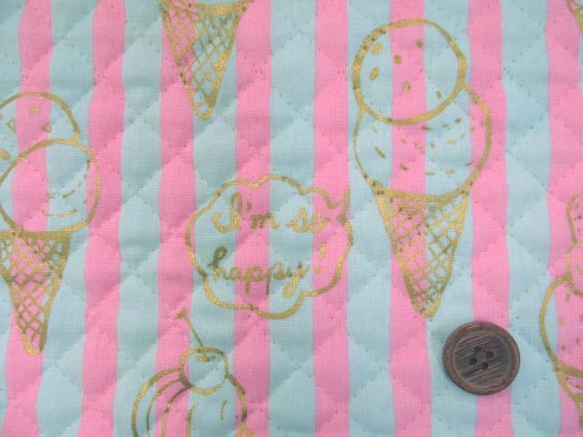 画像1: アイスクリーム・スイーツ・ストライプ柄  シーチング生地(ピンク) ゴールドラメ入り 全針キルト