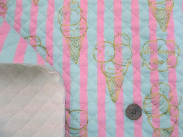 画像3: アイスクリーム・スイーツ・ストライプ柄  シーチング生地(ピンク) ゴールドラメ入り 全針キルト