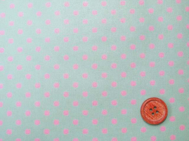 画像1: 4mm ドット ピンクの水玉 (ミントグリーン地)【 カラー 9 】シーチング生地 ラミネート つや消し