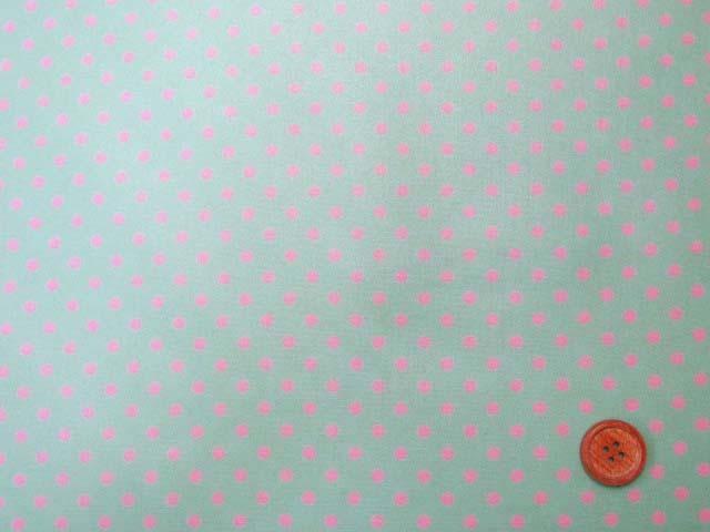 画像2: 4mm ドット ピンクの水玉 (ミントグリーン地)【 カラー 9 】シーチング生地 ラミネート つや消し
