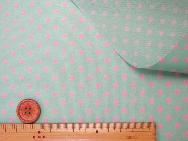 画像3: 4mm ドット ピンクの水玉 (ミントグリーン地)【 カラー 9 】シーチング生地 ラミネート つや消し