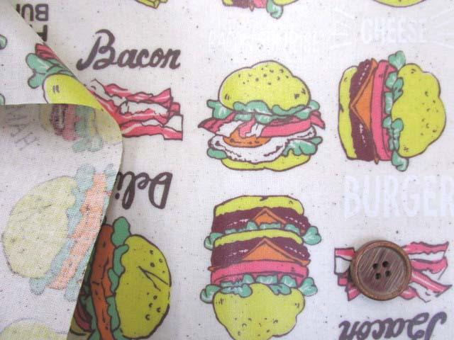 画像3: ハンバーガー ポテト ベーコン ピーマン シーチング生地 (生成り) ラミネート 半ツヤ