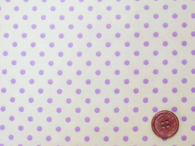 画像1: 4mm ドット 紫色の水玉 (イエロー地)【 カラー 6 】 シーチング生地 ラミネート つや消し