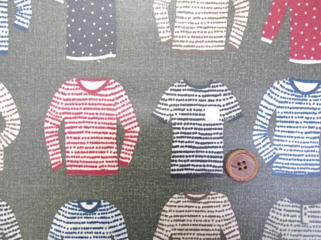 画像1: 綿麻キャンバス セーター・ニット・カーディガン・洋服柄 (カーキグレー) ラミネート つや消し↑