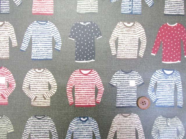 画像2: 綿麻キャンバス セーター・ニット・カーディガン・洋服柄 (カーキグレー) ラミネート つや消し↑