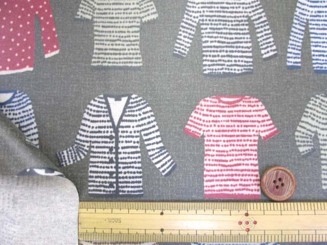 画像3: 綿麻キャンバス セーター・ニット・カーディガン・洋服柄 (カーキグレー) ラミネート つや消し↑