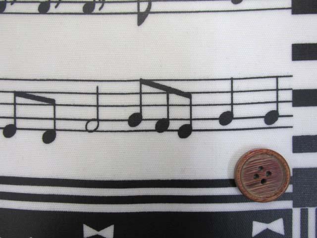 画像1: ピアノ・鍵盤・ドット・リボン・スクエア柄 オックス生地 (モノトーン) ラミネート 半ツヤ