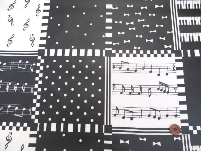 画像2: ピアノ・鍵盤・ドット・リボン・スクエア柄 オックス生地 (モノトーン) ラミネート 半ツヤ