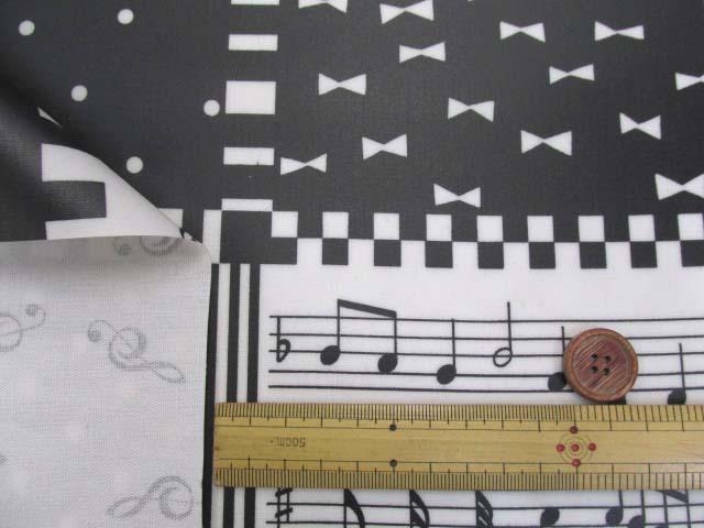 画像3: ピアノ・鍵盤・ドット・リボン・スクエア柄 オックス生地 (モノトーン) ラミネート 半ツヤ
