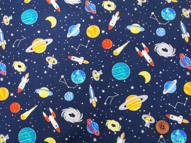 画像2: ☆宇宙・ロケット・惑星柄 CBプリント生地はぎれ1m10cm (紺) ラメ入り
