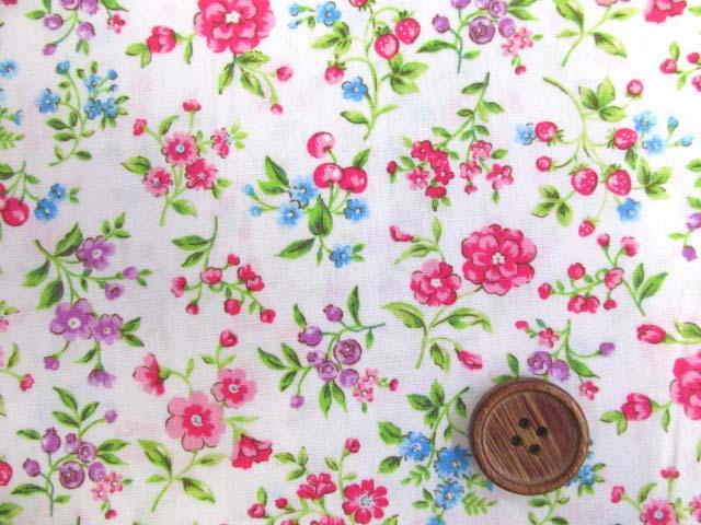 画像1: フラワーガーデン・花柄 ブロード生地