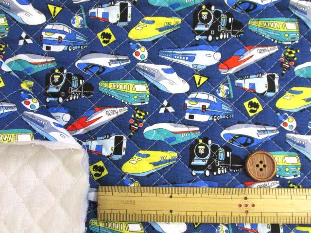 画像3: 電車・機関車・標識柄 CBプリント生地 (紺) 全針キルト