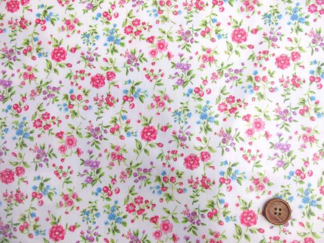 画像2: フラワーガーデン・花柄 ブロード生地 ラミネート 半ツヤ