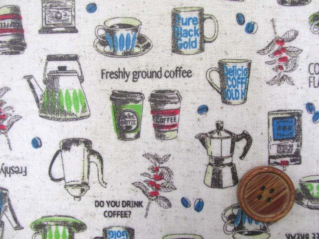 画像1: 綿麻キャンバス コーヒー カップ ポット(生成り) ラミネート つや消し