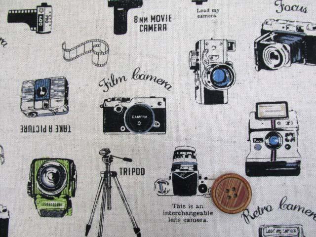 画像1: 綿麻キャンバス カメラ・ビデオカメラ柄(生成り)