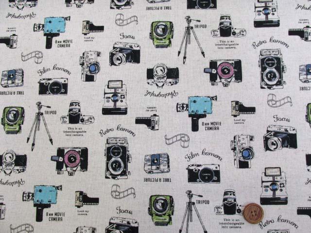 画像2: 綿麻キャンバス カメラ・ビデオカメラ柄(生成り)