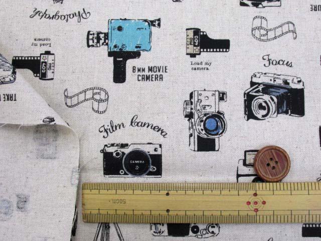 画像3: 綿麻キャンバス カメラ・ビデオカメラ柄(生成り)