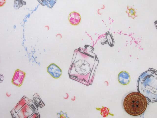 画像1: フレグランス・香水柄 シーチング生地 (オフ地)  ラミネート つや消し