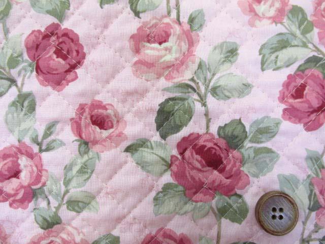 画像1: バラ・フラワー・花柄 シーチング生地 (ピンク) 全針キルトはぎれ60cm