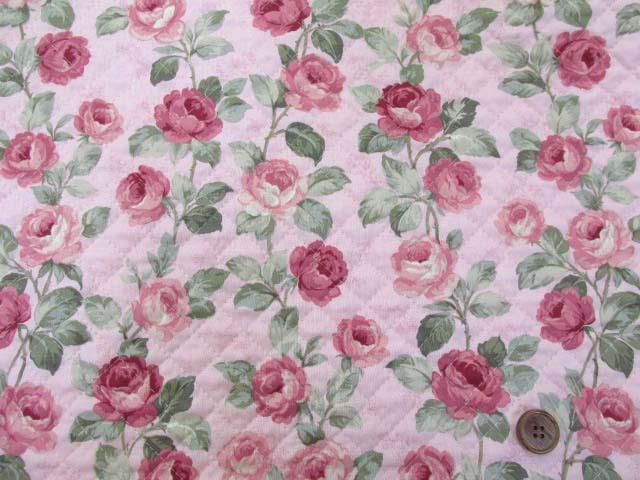 画像2: バラ・フラワー・花柄 シーチング生地 (ピンク) 全針キルトはぎれ60cm