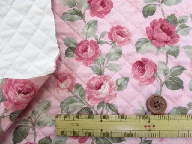 画像3: バラ・フラワー・花柄 シーチング生地 (ピンク) 全針キルトはぎれ60cm