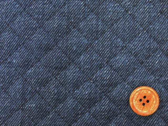 画像1: デニム調 無地・デニム柄(紺)  全針キルト