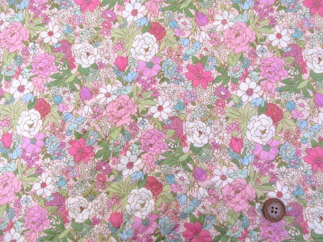 画像2: ▼訳あり クラシカルポップフラワー・花柄 ブロード生地 (ピンク) 全針キルト はぎれ30cm