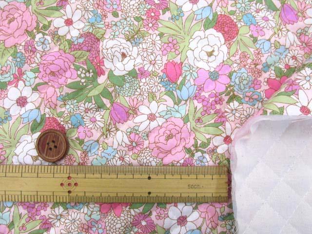 画像3: ▼訳あり クラシカルポップフラワー・花柄 ブロード生地 (ピンク) 全針キルト はぎれ30cm