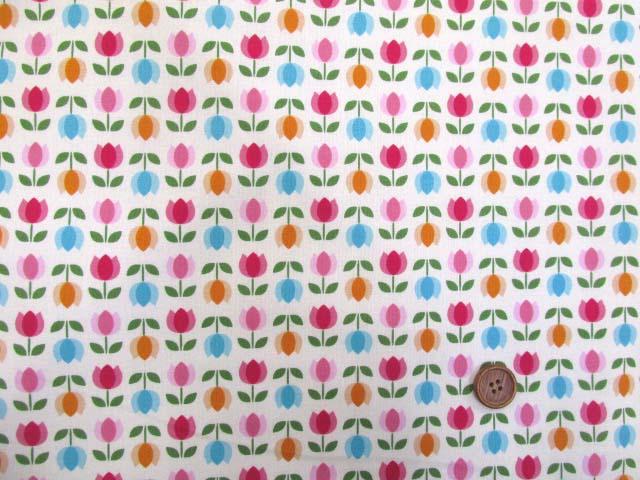 画像2: 値下げしました!レトロチューリップ・フラワー・花柄(オフ)スケア生地