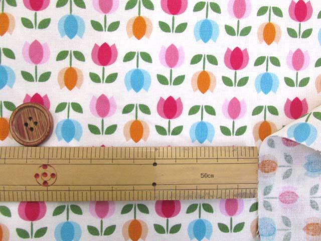 画像3: 値下げしました!レトロチューリップ・フラワー・花柄(オフ)スケア生地