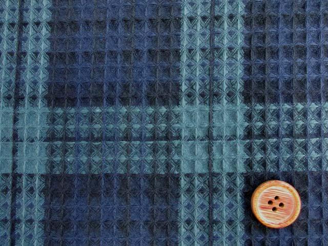画像1: ブラックウォッチ・タータンチェック柄 ワッフル生地