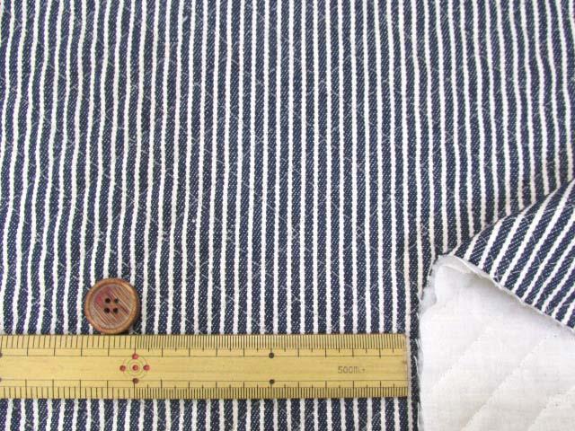 画像3: 綿ヒッコリー 生成のストライプ(紺地)全針キルト
