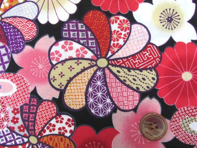 画像1: 和柄 花模様柄  スケア生地(黒)