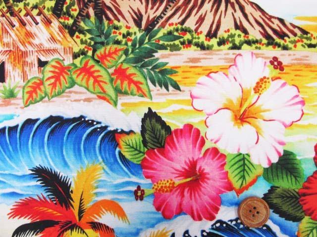 画像1: さららシリーズ ハワイアン・サンセットビーチ・ハイビスカス柄 インクジェットプリント シーチング生地