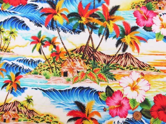 画像2: さららシリーズ ハワイアン・サンセットビーチ・ハイビスカス柄 インクジェットプリント シーチング生地