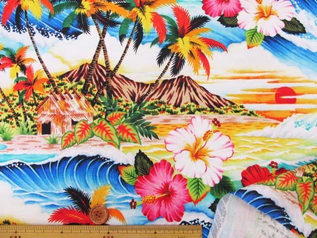 画像3: さららシリーズ ハワイアン・サンセットビーチ・ハイビスカス柄 インクジェットプリント シーチング生地