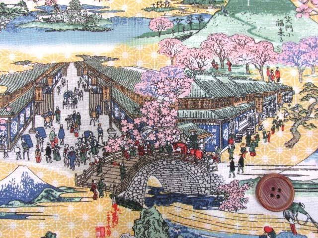 画像1: 富士山・桜・浮世絵柄 シーチング生地