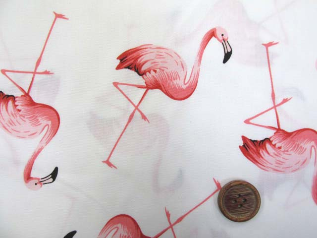 画像1: フラミンゴ・鳥柄 ブロード生地 (オフ)