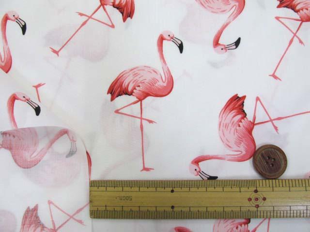 画像3: フラミンゴ・鳥柄 ブロード生地 (オフ)