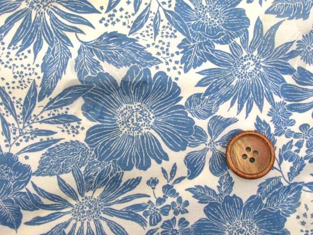 画像1: (3)オーガンジー フラワー・花柄 オパール加工 80ローン生地 (ブルー)はぎれ90cm