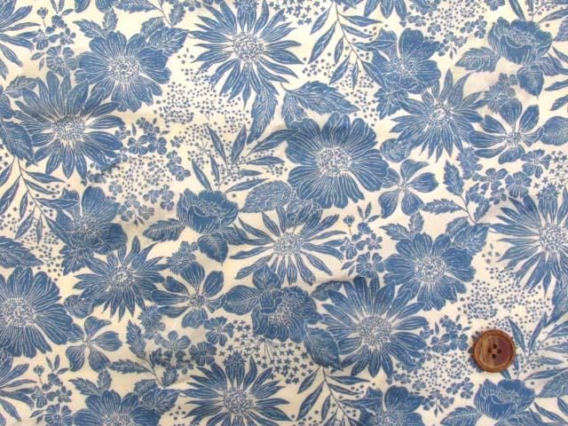 画像2: (3)オーガンジー フラワー・花柄 オパール加工 80ローン生地 (ブルー)はぎれ90cm