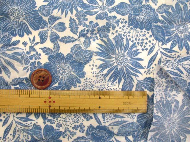 画像3: (3)オーガンジー フラワー・花柄 オパール加工 80ローン生地 (ブルー)はぎれ90cm