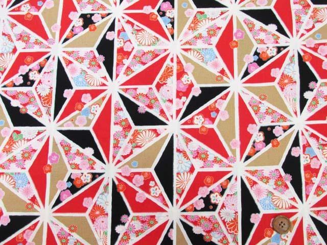 画像2: 和柄 菊・椿・麻の葉柄  アムンゼン生地 (黒×赤)