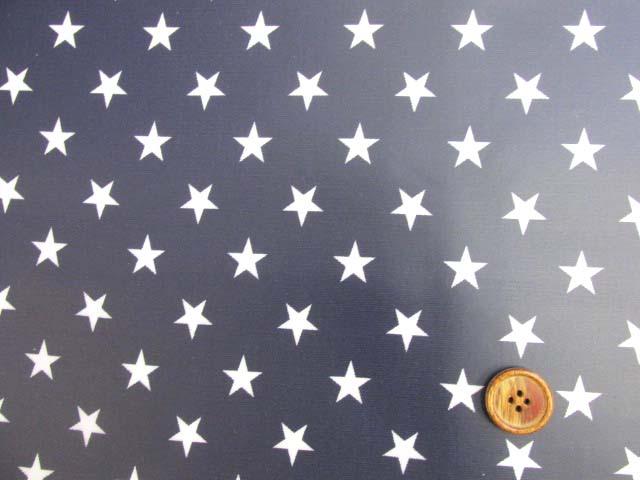 画像2: ▼星柄 白い星 オックス生地(紺地)ラミネート つや消し◆訳ありはぎれ30cm