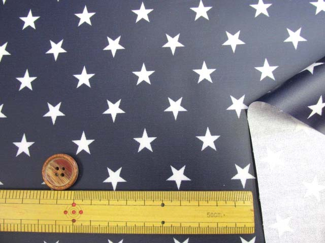 画像3: ▼星柄 白い星 オックス生地(紺地)ラミネート つや消し◆訳ありはぎれ30cm