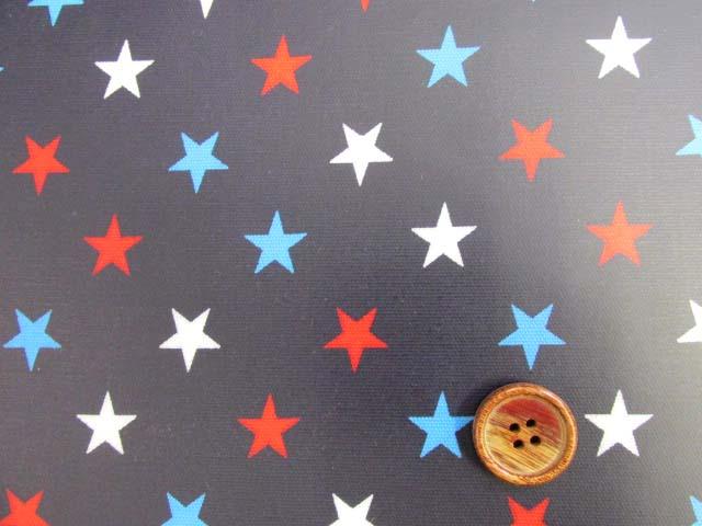 画像1: 星柄 3色の星 オックス生地(紺地)ラミネート つや消し