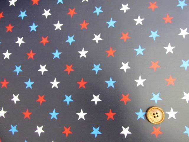画像2: 星柄 3色の星 オックス生地(紺地)ラミネート つや消し