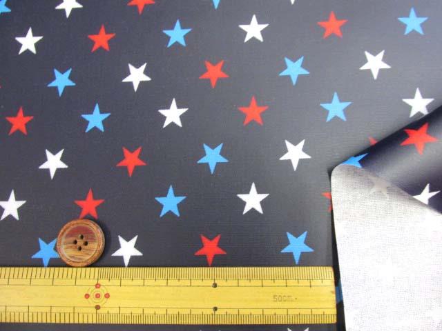 画像3: 星柄 3色の星 オックス生地(紺地)ラミネート つや消し