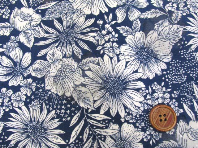 画像1: オーガンジー フラワー・花柄 オパール加工 80ローン生地 (ネイビー)
